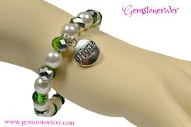 crystal bracelet charms images Stylish ivory cream white silver green crystal bracelet with jpg
