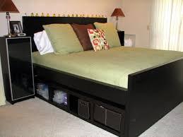 High Platform Bed Furniture Black Wooden High Platform Bed Frame With Headboard And