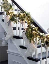 inspired christmas stairways staircases garlands and stockings