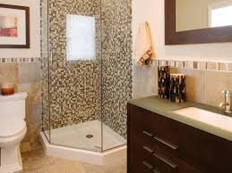 bathroom tiny guest bathroom with glass mosaic tiles on corner