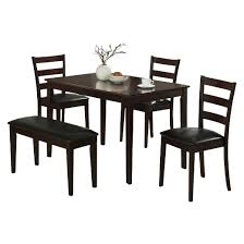 dining set 5 piece bench and 3 chairs cappuccino everyroom