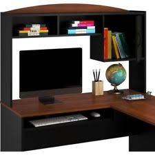 mainstays l shaped desk with hutch black u0026 cherry 9324056pcom ebay