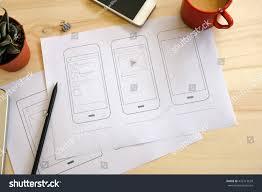 Designer Desk by Designer Desk Ui Wireframe Sketches View Stock Photo 426119629