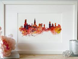 chicago watercolor skyline wall art city art skyline painting