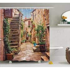 Tuscan Decor Tuscan Decor Shower Curtain Set View Of An Old Mediterranean