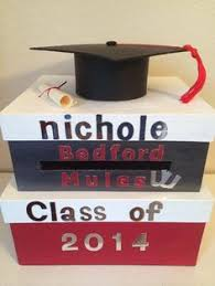 graduation money box grad box with grad year name of grad and school emblem