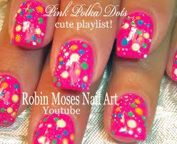 nail art easy pink polka dot nails for beginners youtube