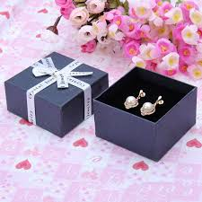 necklace earring gift box images Ribbon bowknot cube ring earrings jewelry box cardboard gift box jpg