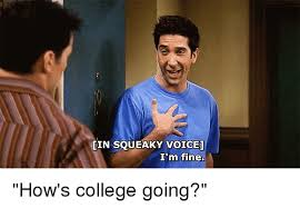 Memes About College - lin squeaky voice i m fine how s college going college meme on me me