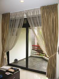 Sheer Patio Door Curtains Traditional Brown Striped Patterned Fabric Roller Curtain