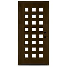 Modern Wood Door by Steves U0026 Sons 36 In X 80 In Modern Iron Grille 3 Lite Stained