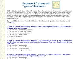 dependent clauses and types of sentences 5th 6th grade worksheet
