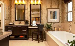 Bathroom Makeup Vanities Bohemian Makeup Vanity Designs With Accent Lights