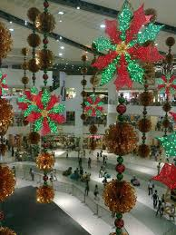 scant christmas decorations in shopping malls before the eastern