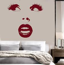 amazon com vinyl wall decal beautiful woman face eyes lips sexy amazon com vinyl wall decal beautiful woman face eyes lips sexy girl art stickers mural ig1364 home kitchen