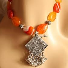 agate jewelry necklace images Shaded orange agate gemstone handmade silver necklace earring at jpg