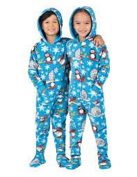 winter hoodie one toddler hooded footed pajamas