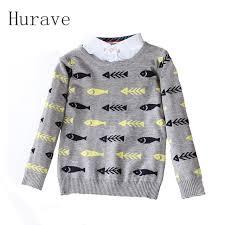 fish sweater hurave 2017 autumn winter children clothing fish pattern boys