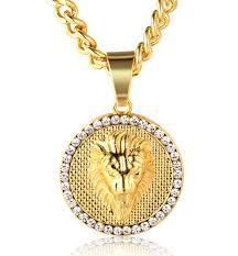 medallion pendant necklace images Halukakah quot kings landing quot men 39 s 18k real gold plated lion jpg