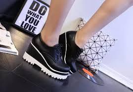 Platform Heels Comfort Fashion 2017 Women Casual Shoes Platform Flats Lace Up Pu Wedges
