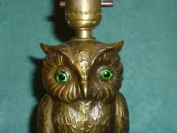 Owl Table L Vintage Brass Finish Spelter White Metal Owl Table L Marked L