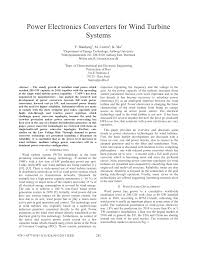 power electronics converters for wind turbine systems pdf