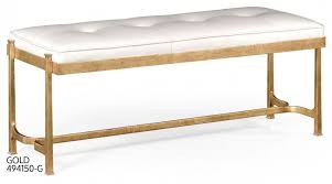 White Leather Benches Knitted Gray Fabric Bench Seat Features Knitted Gray Fabric Bench