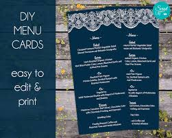 lace printable menu templates easy to edit and print navy blue