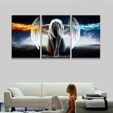 2017 printed 3 panel canvas wall art angel wings painting