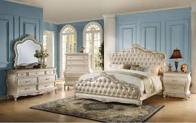 upholstered bedroom set acme acme chantelle button tufted upholstered bedroom set in pearl