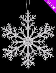 of 2 xl hanging 31cm silver glitter snowflake
