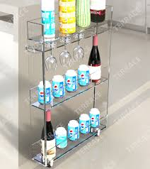 rolling acrylic kitchen storage rack with wine glass holder lucite