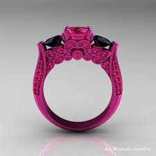pink and black engagement rings 14k pink gold three pink sapphire black diamond solitaire