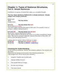 identify sentence pattern english grammar 13 14 second semester grammar 1 simplebooklet com