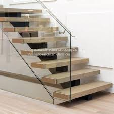 indoor interior solid wood stairs wooden staircase stair indoor carbon steel mono stringer straight stair tread brackets with