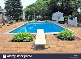 Backyard Inground Swimming Pools Suburban Backyard Inground Swimming Pool Long Island Ny Stock
