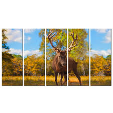 online get cheap wildlife wall murals aliexpress com alibaba group modern wildlife wall art print wild animal elk poster 5 piece deer canvas painting home decor picture for bedroom wall mural