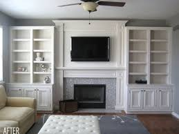 before u0026 after built ins with tv in one bookcase and not above