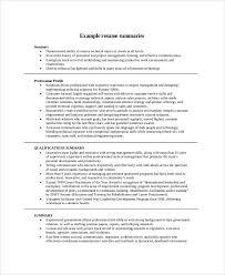 exles of a resume summary resume summary sles resume career summary exle jobsxs