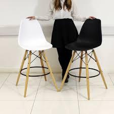 black white eames eiffel style retro bar stool chair breakfast
