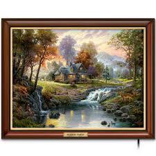 amazon com thomas kinkade canvas print wall decor mountain