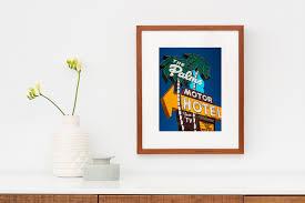 portland art mid century motel sign neon sign art palms