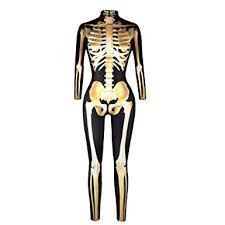 Skeleton Jumpsuit Women Skeleton Jumpsuit Halloween Fancy Dress Costume Skinny