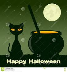 black cat halloween background halloween with magic pot and black cat stock vector image 77591734