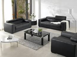 Elegant Red Rug With Black Furniture Modern Black Leather - Contemporary leather sofas design