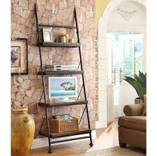 Leaning Book Shelf Black Wrought Iron Display Ladder Shelf With Flat Screen Tv Stands