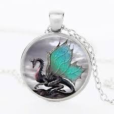 dragon glass necklace images Blue dragon handmade glass dome necklace the fire of dragons jpg