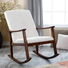 Rocking Chair Runner Brown Canvas Upholstered Armrest Rocking Chair With Black Stained