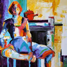 exhausted woman figurative oil painting art deco painting art abstract painting women in