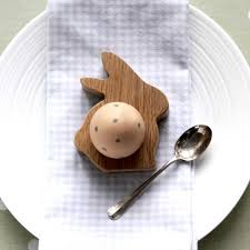 bunny egg cup wooden bunny rabbit egg cup or napkin ring